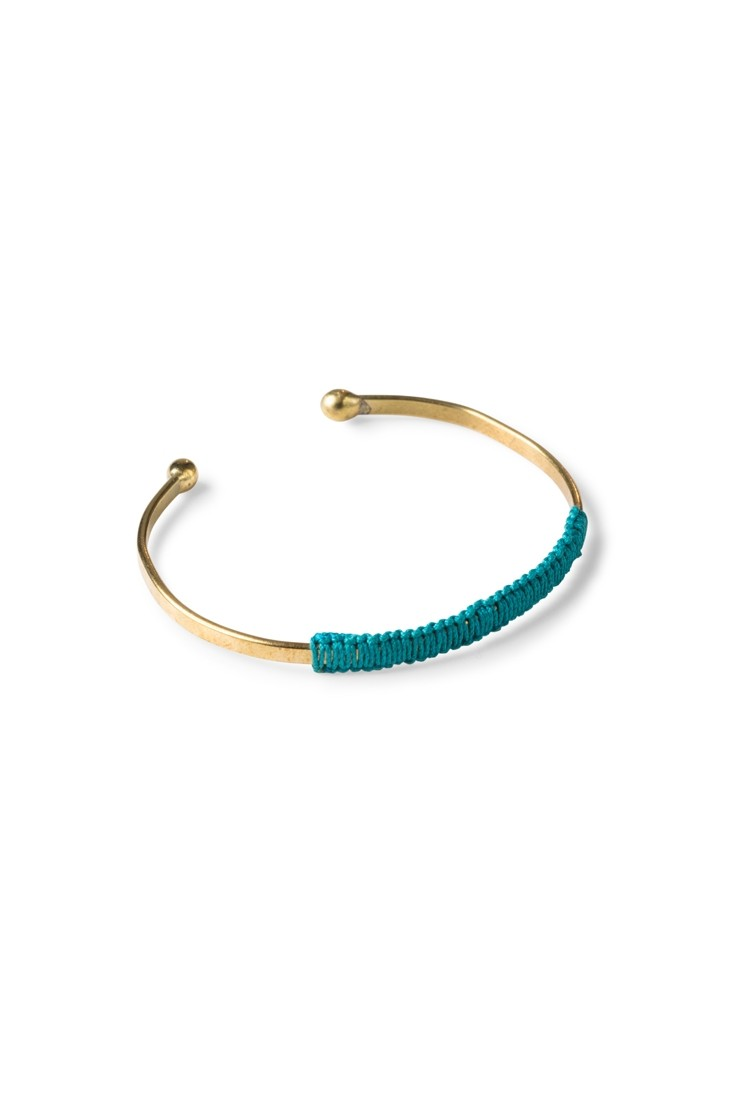 Woven brass bangle - teal
