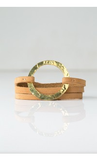 Brass Ring Wrap Bracelet - Nubuck