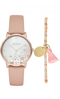 Mon Amie watch and single strand set - pink