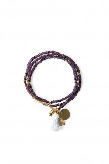 Brass Paillette and Tassel Rafiki - Plum