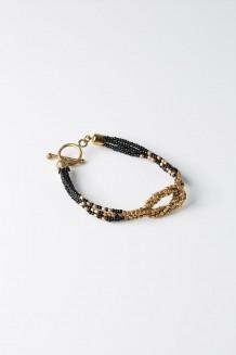 Faceted Knot Bracelet - Black & Brass