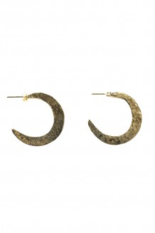 Hammered Brass Crescent Earring - large