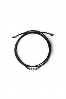 Leather & Brass Wraparound Choker - Black
