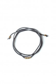 Leather & Brass Wraparound Choker - Gray