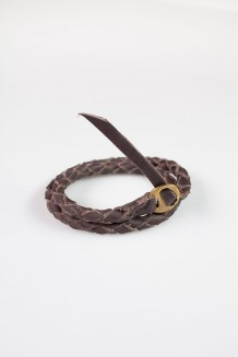 Mbili Two Wrap Braided Bracelet - Dark Brown - Brown Leather