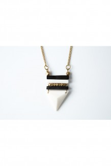 Duotone Triangle Necklace - Bone & Brass