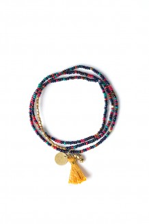 Brass Paillette and Tassel Rafiki - Indigo