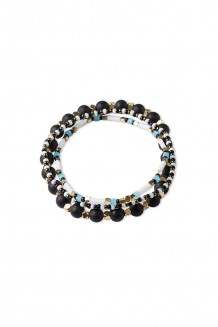 Dot & Stone Bracelet Stack - Teal