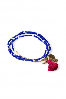 Brass Paillette and Tassel Rafiki - Deep Blue