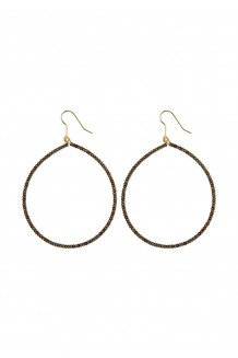 Brass and bead hoops - brass & black