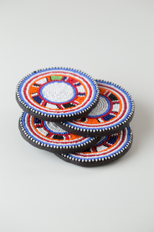 Beaded Coaster Set of 4 - Multi