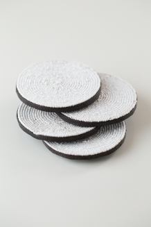 Beaded Coaster Set of 4 - White - White