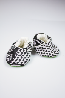 Kitenge Baby Booties - Black & White