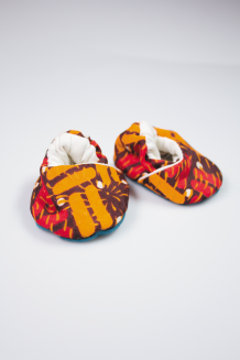 Kitenge Baby Booties - Orange, Brown & Red