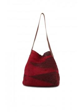 Shigra Cabuya Tote - Burgundy & Red