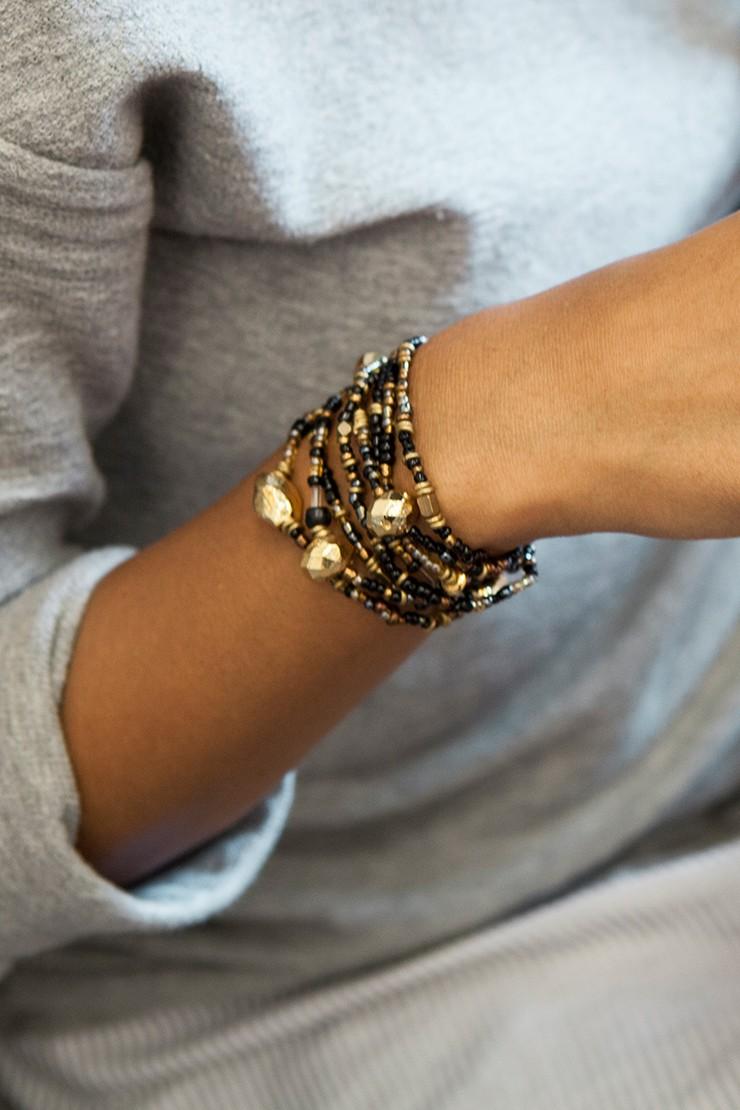 Mama Toti Rafiki Bracelet - Black & GoldView 4