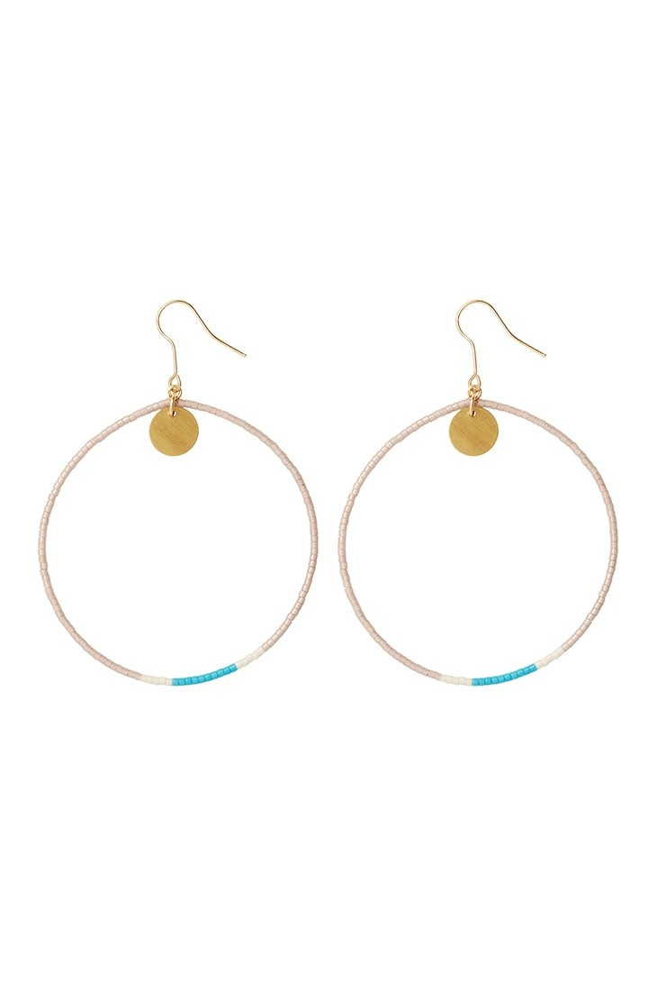 Contrast beaded hoops - blushView 1