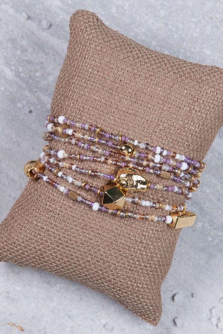 Mama Toti Rafiki Bracelet - Purple & GoldView 2