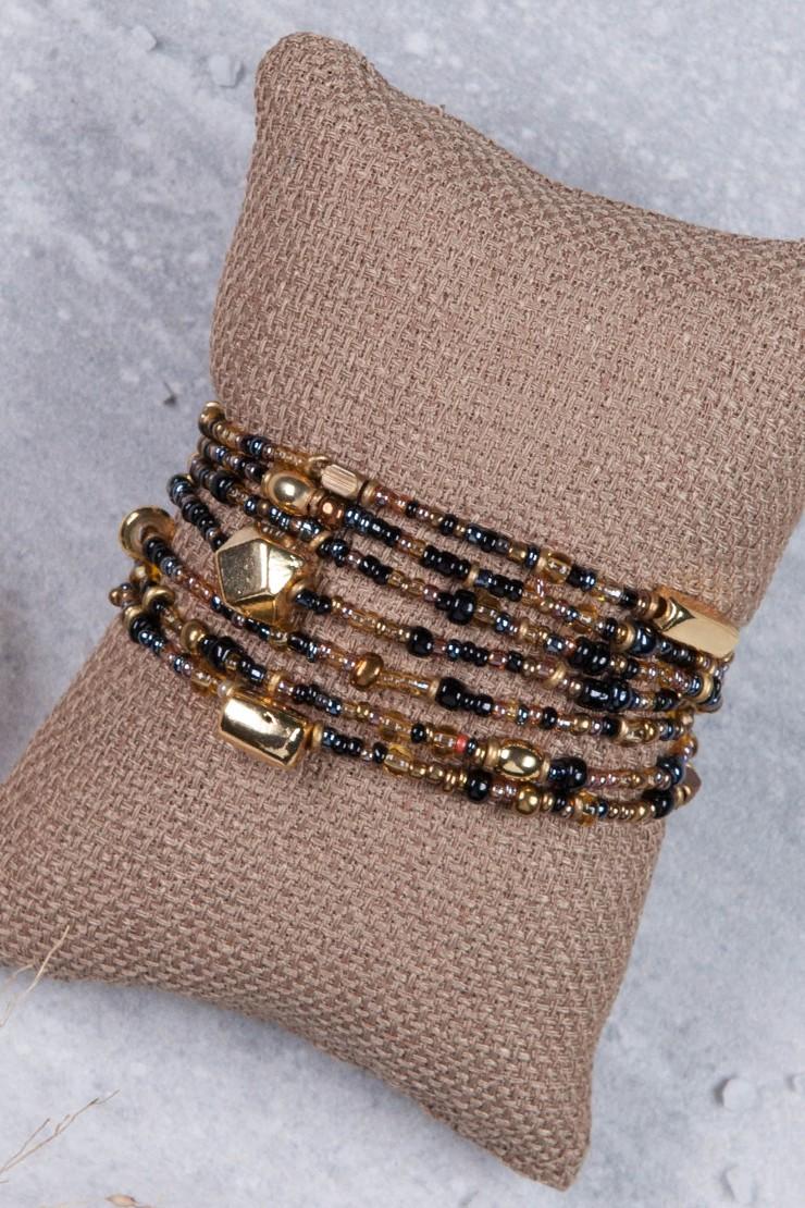 Mama Toti Rafiki Bracelet - Black & GoldView 1