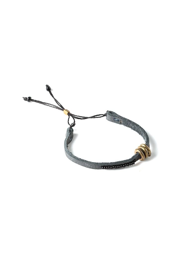 Banded Leather Bracelet - Grey