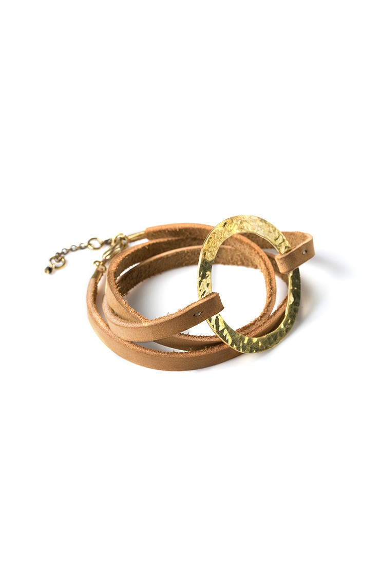 Brass Ring Wrap Bracelet - NubuckView 2
