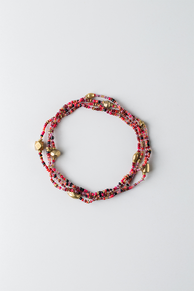 Mama Toti Rafiki Bracelet - Red & Gold View 1