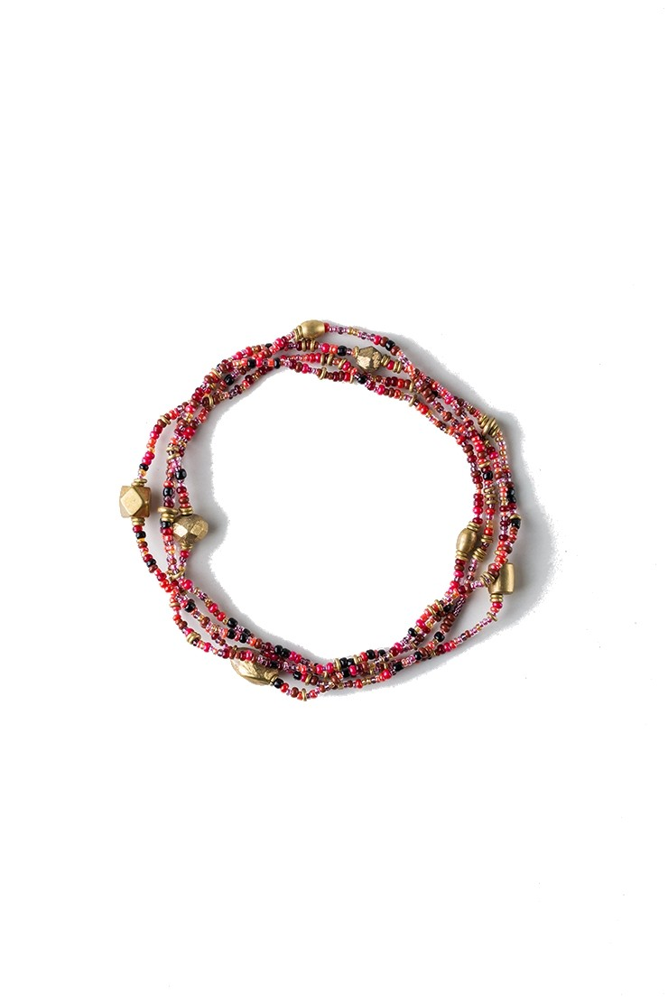Mama Toti Rafiki Bracelet - Red & Gold View 3