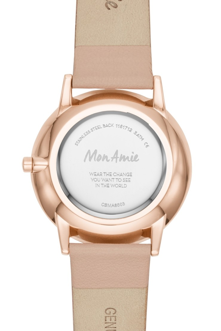 Mon Amie novelty health blush leather watch and bracelet setView 2