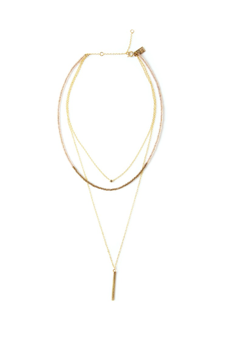Multi-Layer Bar Drop Necklace - Iridescent