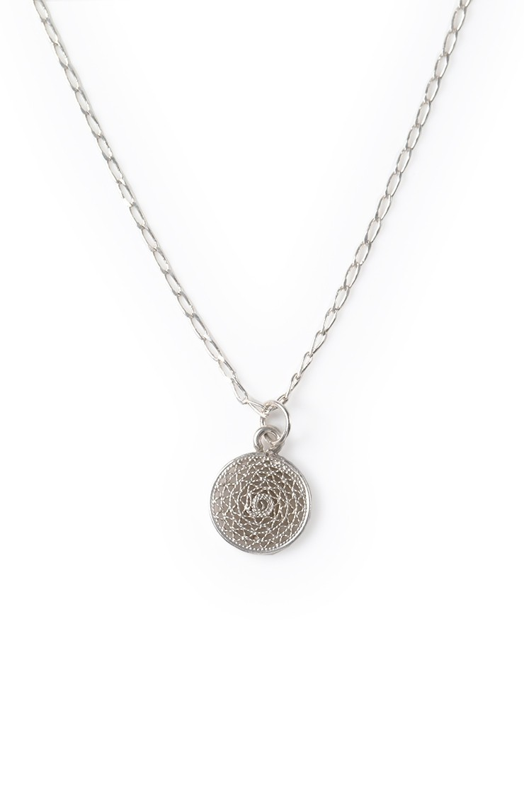 Filigree Charm Necklace - silver