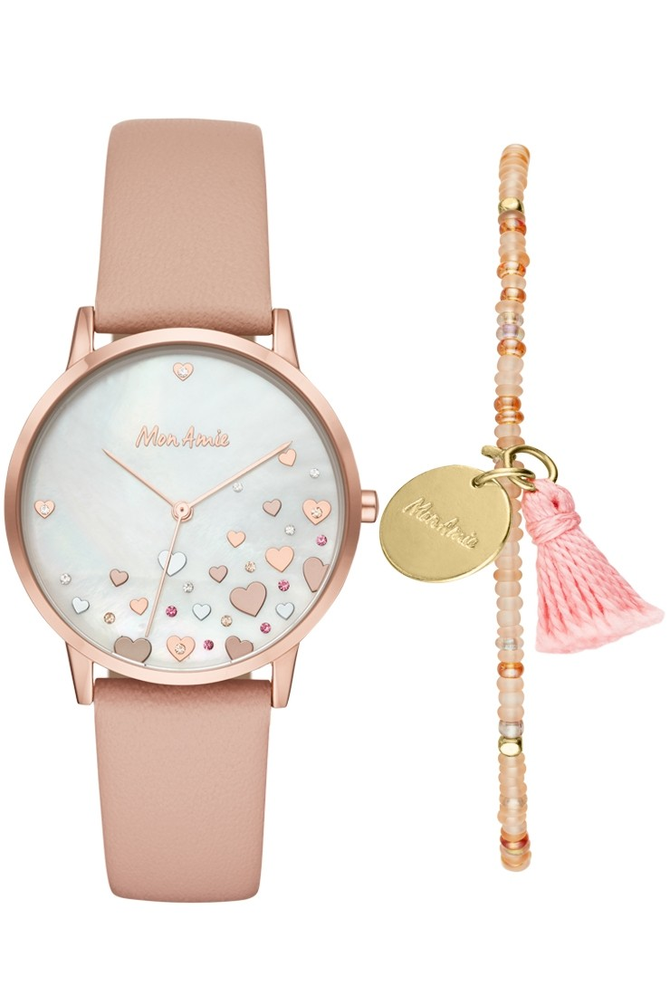 Mon Amie novelty health blush leather watch and bracelet set