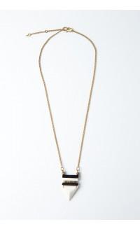 Duotone Triangle Necklace - Bone & Brass