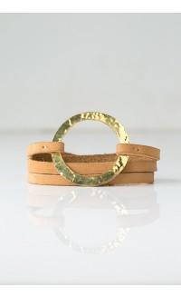Brass Ring Wrap Bracelet - Nubuck