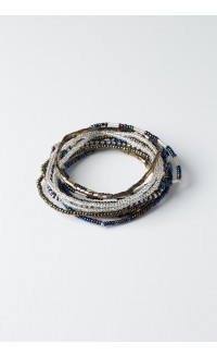 Hakuna Matata Bracelet Set - Hematite Blue