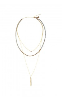 Multi-Layer Bar Drop Necklace - Gray