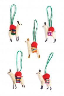 Ecuador Llama Ornaments Set of 5