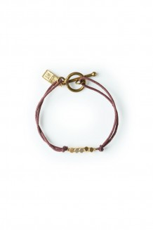 Brass & thread bracelet - burgundy