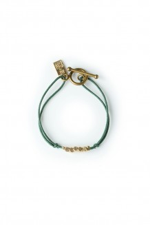 Brass & thread bracelet - forest green