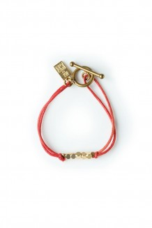 Brass & thread bracelet - red