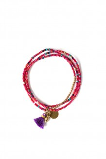 Brass Paillette and Tassel Rafiki - Raspberry