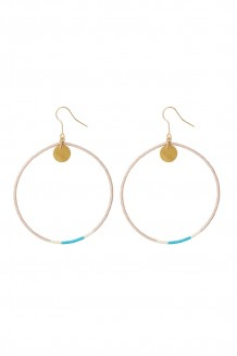 Contrast beaded hoops - blush