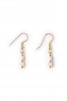 Semiprecious bead drop earrings - rose quartz
