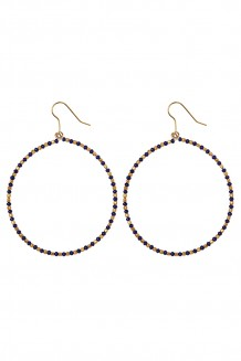 Brass and bead hoops - brass & navy