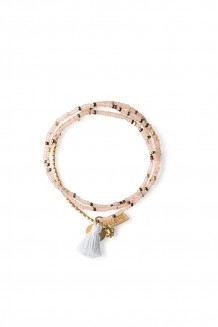 Brass Paillette and Tassel Rafiki - Dusty Pink
