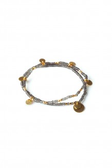 Layered Paillette Bracelet Set - Gray
