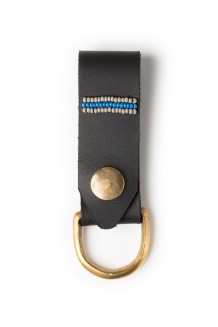 Leather keychain - blue and gray