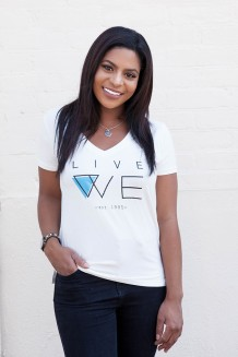 Live WE V-Neck - Women - White