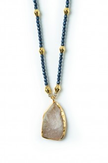 Long line Mara quartz necklace - blue