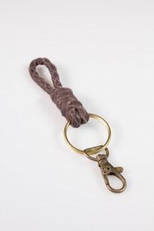 Suka Braided Keychain - Dark Brown - Brown Leather
