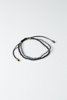 Beaded Duo Bracelet - Black